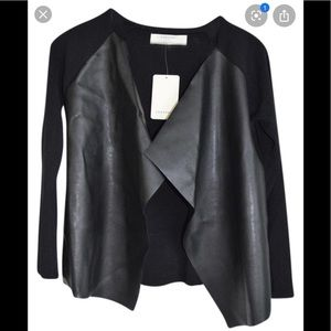 Zara faux leather front sweater size medium euc